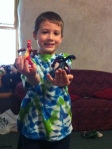 Zander got two McDonad's-type toys from a flea market.