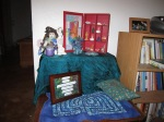 Birth art altar post-blessingway, all set up in my birth nest corner, reading for the birth of my daughter.