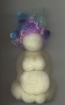 Needle felted wool birth art sculpture from first pregnancy.