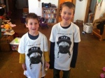 A friend sent the boys California Pug t-shirts in support of their Operation Pug endeavor.