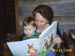 Reading to Lann in 2004.