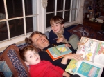 Reading to great-grandsons.