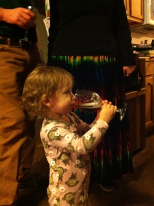 Alaina with sparkling cider on New Year's Eve.