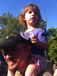Watching a parade at California Adventure