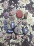 These  are the runes I made out of my Carlsbad beach stones!