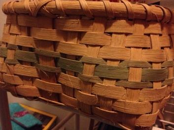 Basket I wove when I was a teenager and that holds soap in the bathroom.