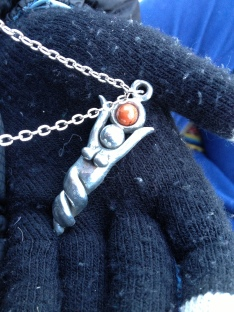 Pendant around my neck--collaborative project of Mark and myself.