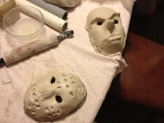 Masks drying on table.