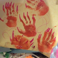 Handprint project in the window.