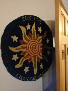 Another birth rug on boys' bedroom wall.