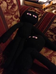 Enderman stuffed toys created by my mom.