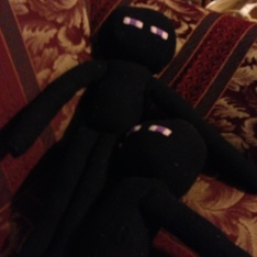 Enderman stuffed toys created by my mom.