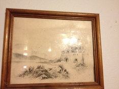 Sketch by great-great grandma on living room wall.