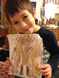 Drawing from homeschool co-op about animal's adaptation to their environment. Z was very pleased that his beast survived to the end!