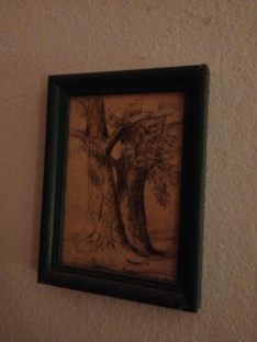 Sketch by my great-great grandma on my bedroom wall. I never met her, but I see her artwork every day.