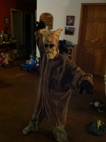 Lann created this uber-creepy second costume for the second party/Halloween itself.