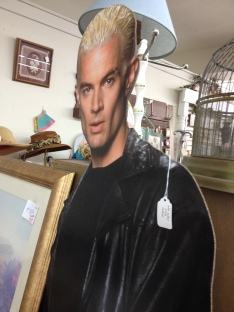 """We went to an antique store where I was amused to see this Spike cut out. The tag on him reads, """"no way for sale."""""""