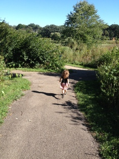 "Running after ""brubbers"" on our walk around the lake."