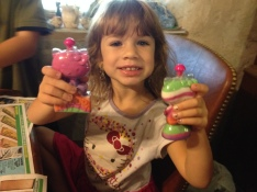 And, she was conveniently wearing a coordinated Hello Kitty dress already!