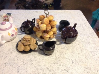 Real tiny cakes and whoopie pies waiting for tea party