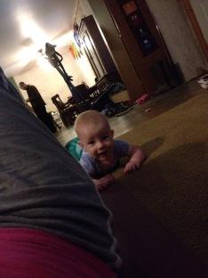 Doing yoga with mama!