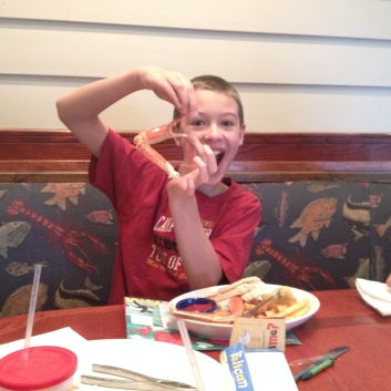 The boys insisted on crab legs at Red Lobster and had a great time eating them!