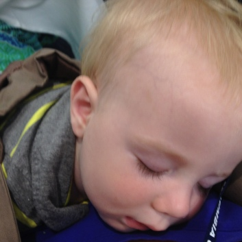 Sleeping on mama during faculty conference