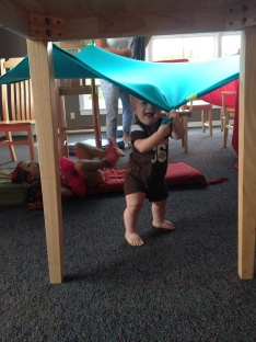 Tanner loved walked through all the forts and tents.