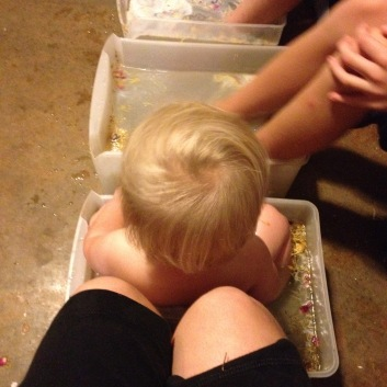 We did family footbaths a few nights ago...he joined right in!